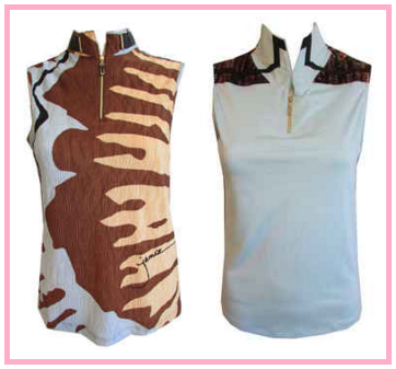 Jamie Sadock Romance & Brown Sugar sleeveless golf shirts