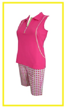 EP Pro Bellini golf outfit 2 - solid golf shirt and printed golf short