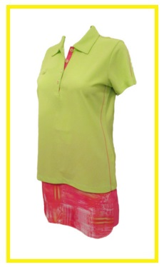 EP Pro Bellini golf outfit 3 - solid golf shirt and printed golf skort