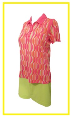 EP Pro Bellini golf outfit 4 - printed golf shirt and plain golf skort