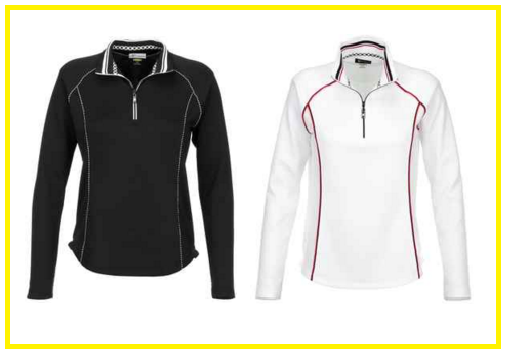Greg Norman Ladies 1.4-Zip Piped Trim Golf Pullover Shirts - Checkmate (Black or White)