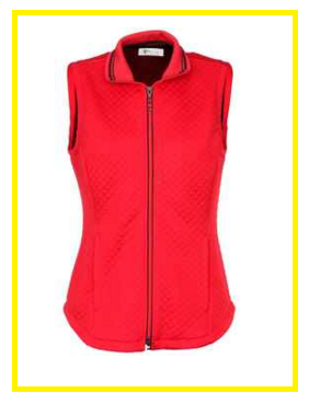 Greg Norman Ladies Diamond Quilted Knit Golf Vests - Checkmate (Cherry Red)