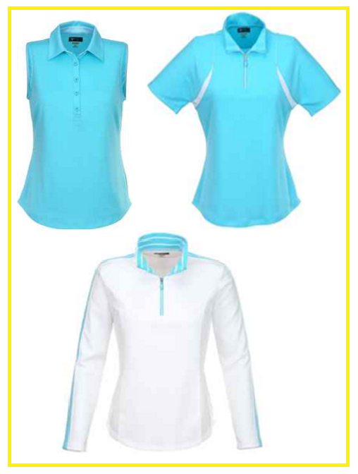 Greg Norman Santorini golf shirts in Azure Blue and White