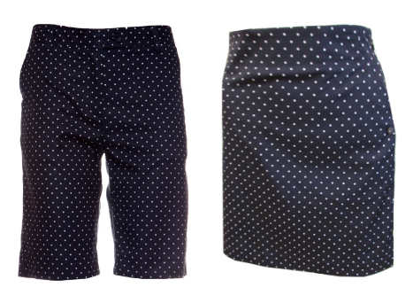 Cracked Wheat Ladies Brittany Golf Shorts and Gina Golf skorts - Uptown Girl (Polka Dot Print)