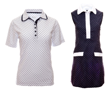 Cracked Wheat Ladies Short Sleeve Sabrina Golf Shirts and Sleeveless Lola golf dress - Uptown Girl (Polka Dot Print)