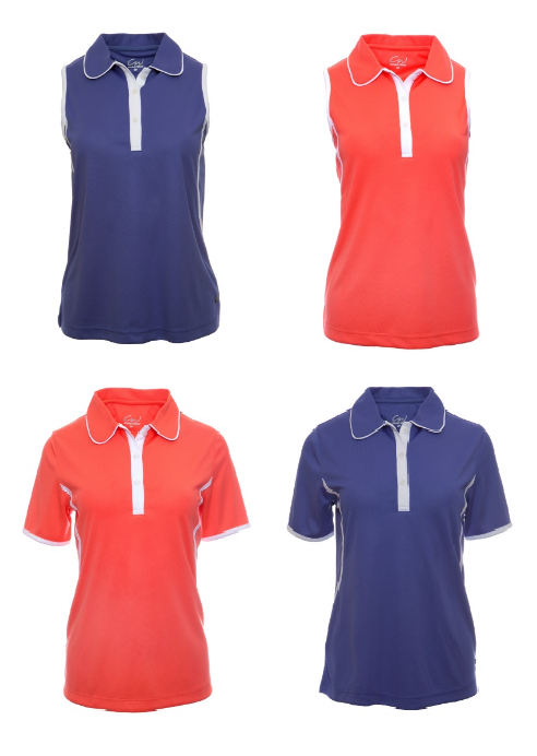Cracked Wheat Ladies Sleeveless and Short Sleeve golf shirt in Periwinkle and Nectar