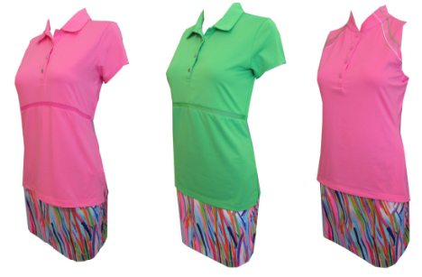 EP Sport Ladies Golf Outfits (Shirt & Skort) - Coachella (High Voltage Pink Multi Outta Lime)