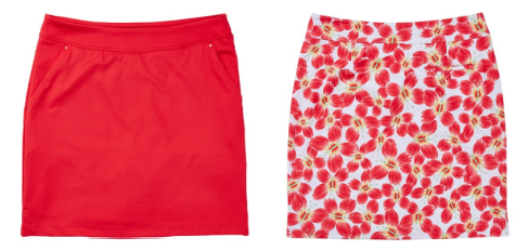 Greg Norman Ladies Textured Knit Golf Skorts and Butterfly Print Knot Golf Skorts - Mariposa