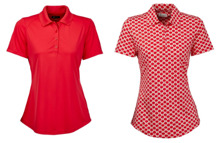 Greg Norman Mariposa Strawberry Back Pleat and Butterfly Print Short Sleeve Golf Polo Shirts
