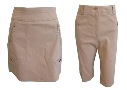 Jamie Sadock Contessa Ladies Golf skort and Capri Tan (Frappe)