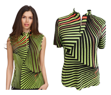 Jamie Sadock Ladies & Plus Size Sleeveless and Short Sleeve Golf Shirts - Lime Crime Black