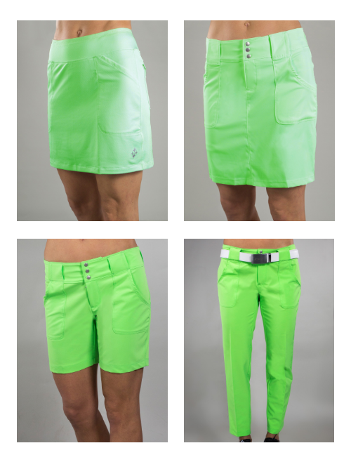 JoFit Ladies Mina Golf skort, Belted Golf Shorts, skort and pants - Melon Ball (Grass)