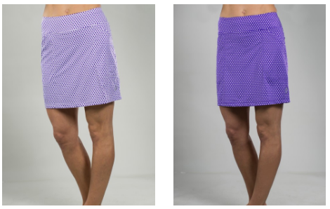 JoFit Ladies & Plus Size Printed Mina Golf Skorts - Malbec (White and Violet Swiss Dot)