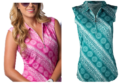 San Soleil Ladies SolTek Sleeveless Golf Polo Shirts - Seville Pink and Seville Teal