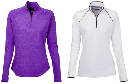 Greg Norman Ladies 1/4 Zip Golf Pullovers - El Morado (Purple and White)