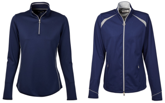 Greg Norman Ladies 14 Zip Piped Golf Pullovers and Greg Norman Ladies Mesh Trim Knit Golf Jackets Chain Reaction (Navy)