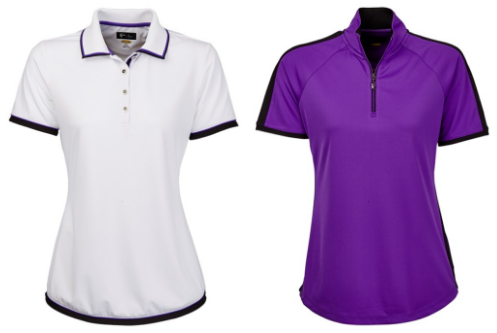 Greg Norman Ladies Contrast Trim Short Sleeve Golf Polo Shirts - El Morado (White and Purple)