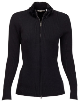 Greg Norman Ladies Faux Fur Collar Rib Golf Sweaters - El Morado (Black)