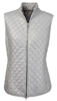 Greg Norman Ladies Foil Print Quilted Golf Vests - Chain Reaction (Sterling Silver)