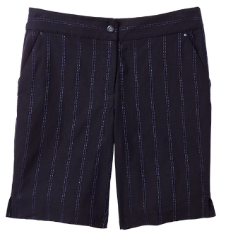 Greg Norman Ladies Pin Stripe Golf Shorts - El Morado (Black)