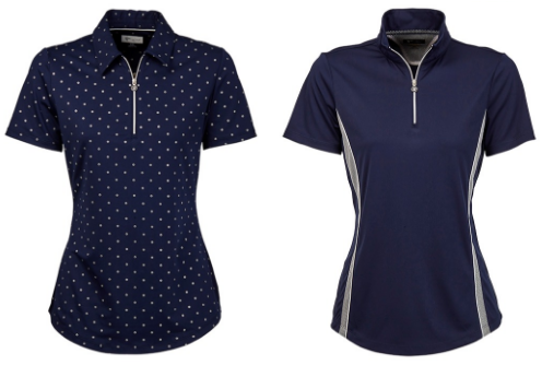 Greg Norman Ladies & Plus Size Circle Foil Print and Mesh Trim Short Sleeve Golf Polo Shirts - Chain Reaction (Navy)