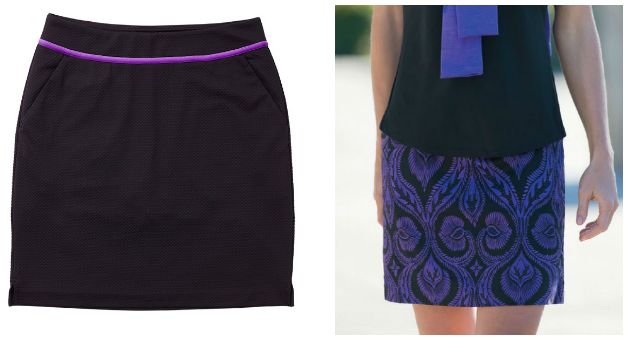 Greg Norman Ladies & Plus Size Knit Golf Skorts - El Morado (Black Plain and Print)