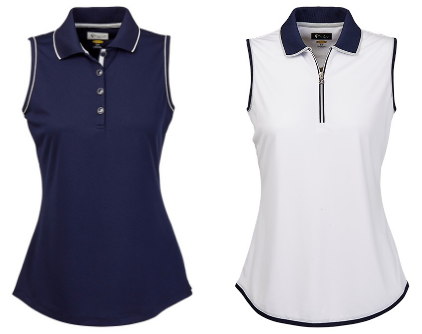 Greg Norman Ladies Sleeveless Golf Polo Shirts - Chain Reaction (Navy and White)