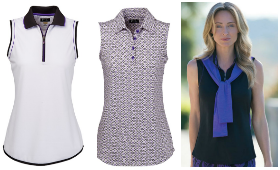 Greg Norman Ladies Sleeveless Golf Polo Shirts - El Morado (White, Plaid and Black)