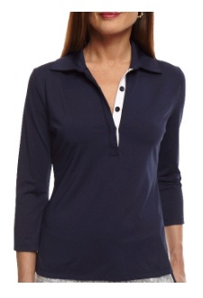 Golftini Ladies 3/4 Sleeve Ruffle Tech Golf Polo Shirts - Navy