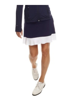 Golftini Ladies Ambitious Pull On Tech Golf Skorts - Navy with White