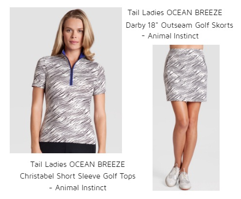 "Tail Ladies Ocean Breeze Christabel Short Sleeve Golf tops Tail Ladies Ocean Breeze Darby 18"" Outseam golf skort Animal Instinct"
