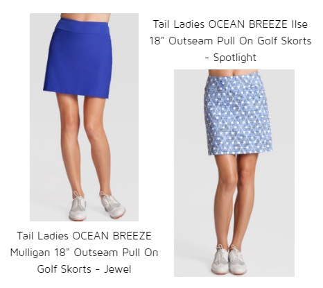 "Tail Ladies Ocean Breeze Ilse 18"" outseam pull on golf skorts Tail Ladies Ocean Breeze Mulligan 18"" outseam Pull On Golf Skort in Jewel"
