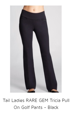 Tail Ladies RARE GEM Tricia Pull On Golf Pants - Black