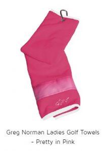 Greg Norman Ladies Golf Towels - Pretty in Pink