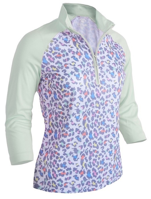 Monterey Leopard Fairest Jade Three-Fourth Sleeve Polo Shirt
