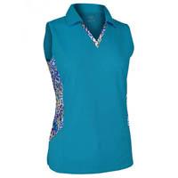 Monterey club ladies plus size rhinestone detail solid for Plus size sleeveless golf shirts