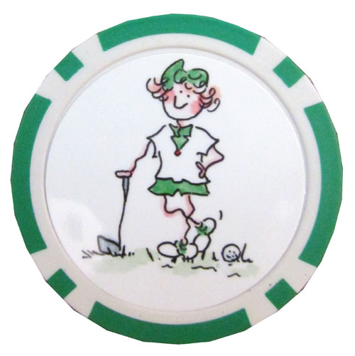 Gal Pals Golf Chip Ball Markers - Green Lady Golfer