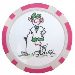Gal Pals Golf Chip Ball Markers - Pink Lady Golfer