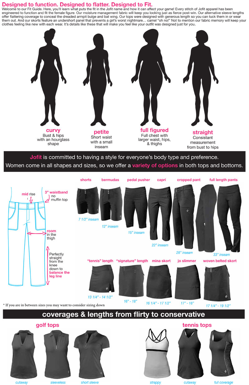 4all by JoFit Golf Apparel Sizing Chart