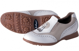 Sandbaggers Madison II Ladies Golf Shoes – Almond (White & Beige)