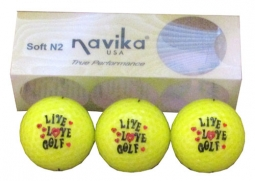 Navika Neon Yellow (Live, Love, Golf) Print Wrapped Golf Ball 3 Pack - Sleeve of 3 Balls