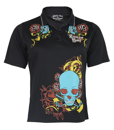 Tattoo Golf Ladies Widow Polo - High Performance Shirts - Black