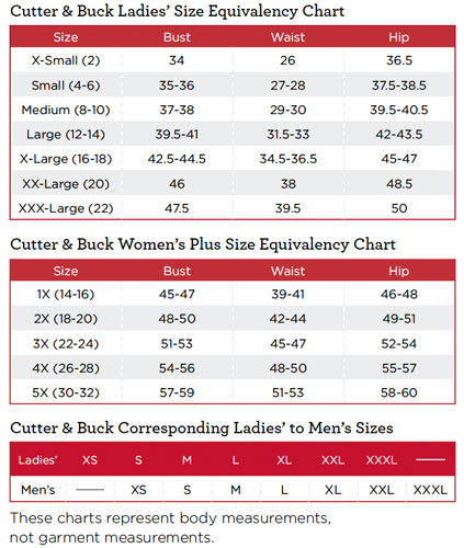 Cutter & Buck Ladies Golf Apparel Sizing Chart