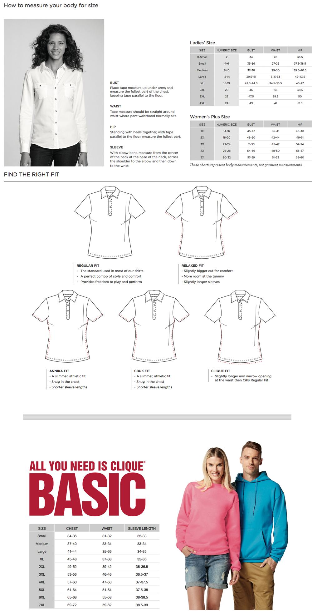 Cutter & Buck/Annika Sizing Chart
