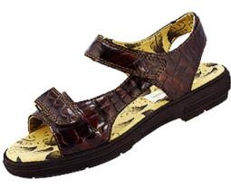 CLEARANCE Golfstream Ladies Two Strap Tuscany Golf Sandals - Brown Faux Crocodile