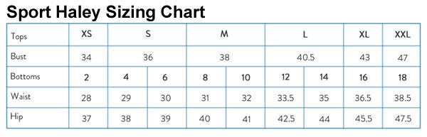 Sport Haley Sizing Chart
