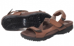 Sandbaggers Ladies Tango Teak Golf Sandals - Brown & Multi