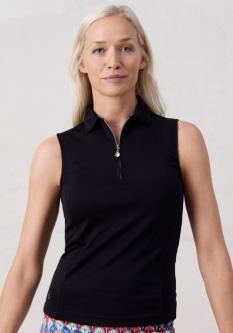 69f8bf7d80b Daily Sports Ladies   Plus Size Macy Sleeveless Golf Polo Shirts - Black