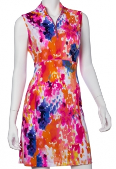 EP New York Ladies Sleeveless Golf Dresses - Brilliants (White Multi)