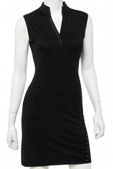CLEARANCE EP New York Ladies Sleeveless Y-Neck Golf Dress - PARALLELS (Black)
